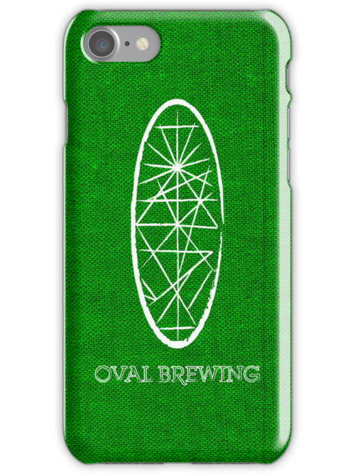 Oval White Text -  Green iPhone Case by redbenn
