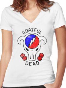 Goatful Dead Women's Fitted V-Neck T-Shirt