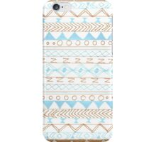 Trendy pastel blue brown aztec tribal pattern iPhone Case/Skin