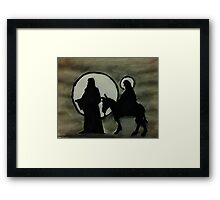Christmas scene of Joseph and Mary, watercolor Framed Print