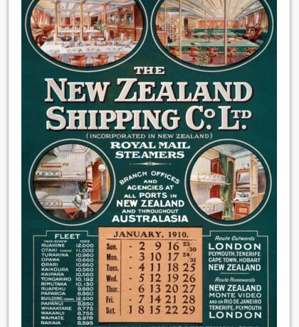 New Zealand Shipping Co. Vintage Poster Sticker