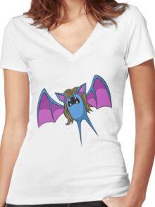 PokéPun - 'But I Won't Zubat' Women's Fitted V-Neck T-Shirt