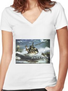 EH-101 Merlin Helicopter Women's Fitted V-Neck T-Shirt
