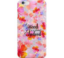 Bright pink orange clover floral typography iPhone Case/Skin