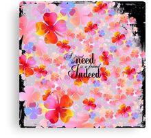 Bright pink orange clover floral typography Canvas Print