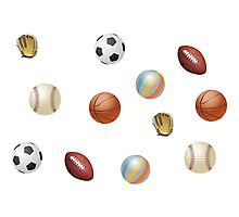 Photo's of ball's from different sports Photographic Print