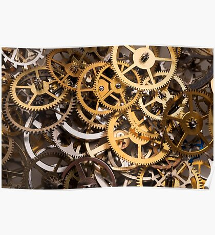 Mix of various gears, abstract technology background Poster