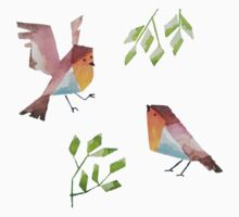 Low poly watercolor - Two robins Kids Tee