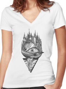 Eye Abstract Women's Fitted V-Neck T-Shirt