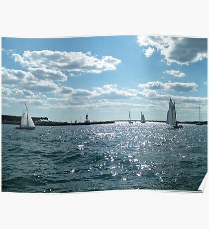 Sails in the Narragansett Bay to the Atlantic Ocean Poster