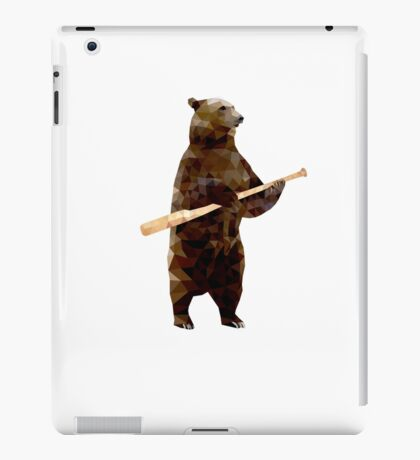 Bear with Bat_white Logo - Polygonal iPad Case/Skin