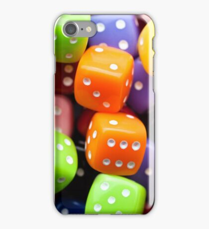 Assorted multicolor dices, close-up shot iPhone Case/Skin
