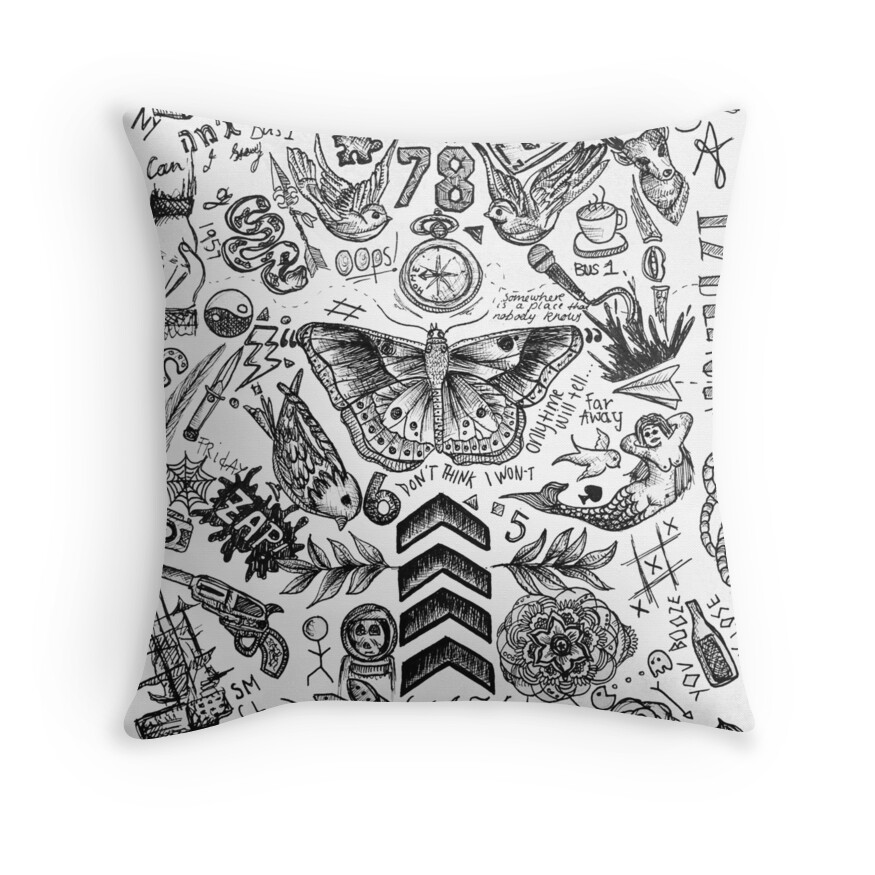 Quot One Direction Tattoos Quot Throw Pillows By Tashalmighty