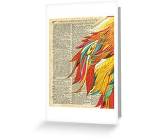 Colourful flaming feathers over old encyclopedia page Dictionary Art Greeting Card