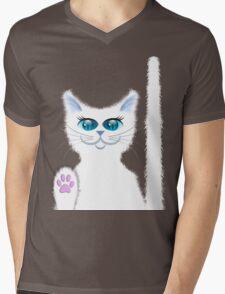 SNOWBELL THE CAT Mens V-Neck T-Shirt