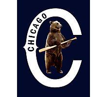 Bear with Bat-White Logo Photographic Print