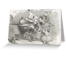 Victorian Christmas Pudding Taking 1848 Greeting Card