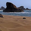 Sand, Surf & Rocks - Bandon, Coos County, OR by Rebel Kreklow