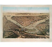 Vintage Pictorial Map of NYC and Brooklyn (1859) Photographic Print