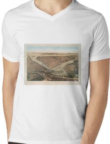 Vintage Pictorial Map of NYC and Brooklyn (1859) Mens V-Neck T-Shirt