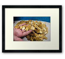 Scuba Divers uncover a hoard of 2000 gold coins from the Fatimid period  Framed Print
