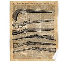 Vintage Weapons Antique Guns Dictionary Art Poster