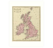 Vintage Map of The British Isles (1864) Art Print