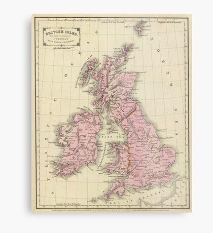 Vintage Map of The British Isles (1864) Metal Print