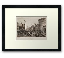 Vintage Broadway NYC Illustration (1840) Framed Print