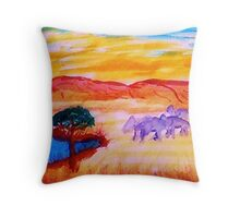 Going for water, watercolor Throw Pillow
