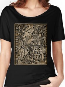 Perspective Trippy Geometry Vintage Mediterranean Dictionary Art Women's Relaxed Fit T-Shirt