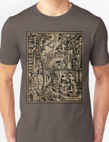 Perspective Trippy Geometry Vintage Mediterranean Dictionary Art Unisex T-Shirt