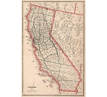 Vintage Map of California (1883) Photographic Print