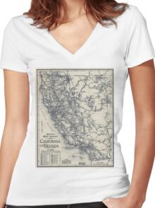 Vintage California and Nevada Road Map (1920) Women's Fitted V-Neck T-Shirt