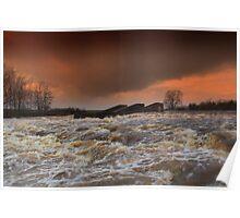 Broken Scar V, River Tees, Stormy  December afternoon Poster