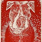 Pit Bull Woodcut by Acey Thompson