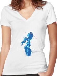 Mega Man Splattery Shirt or Hoodie - Any Color Women's Fitted V-Neck T-Shirt