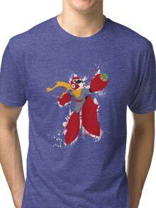 Protoman Splattery Shirt or Hoodie - Any Color Tri-blend T-Shirt