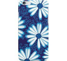 Pretty Navy Blue and White Daisy Flower Tribal Tattoo Design iPhone Case/Skin