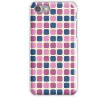Pink and Blue Retro Squares in Polka Dot Pattern iPhone Case/Skin