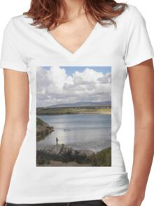 Keadue Bay, Donegal, Ireland  Women's Fitted V-Neck T-Shirt
