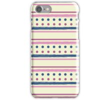 Pink and Blue Retro Polka Dots and Stripes Pattern iPhone Case/Skin