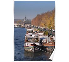 Barges on River Seine Poster