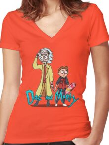 Doc and Marty Women's Fitted V-Neck T-Shirt