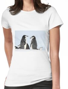 Chinstrap penguins (Pygoscelis antarctica). These birds feed almost exclusively on krill.  Womens Fitted T-Shirt