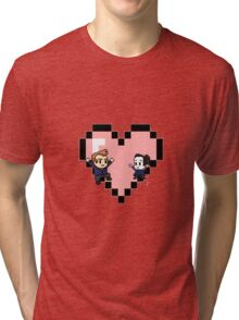 """""""Love in 8-bit"""": Jeff and Annie (Style C) Tri-blend T-Shirt"""