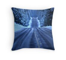 The Cold Snowy Road Throw Pillow