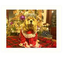 Maggie Pooh Bear at Christmas Art Print