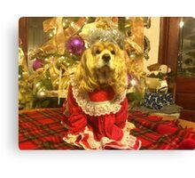 Maggie Pooh Bear at Christmas Canvas Print