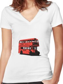 Vintage Red Double Decker London Bus Women's Fitted V-Neck T-Shirt